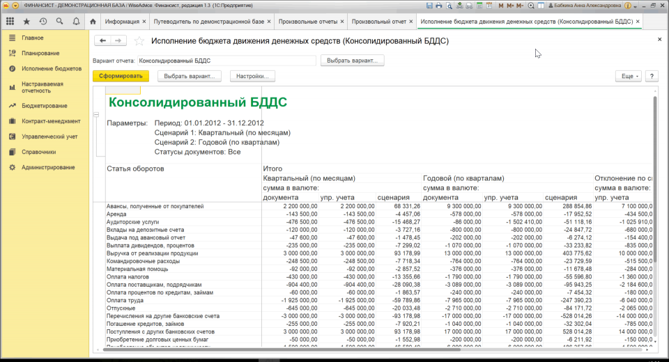 Консолидированный бюджет в программном продукте «WA: Финансист» движения денежных средств. Фрагмент движения денежных средств