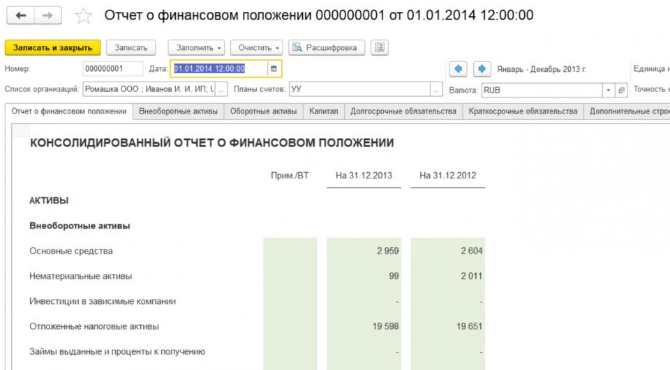 Фрагмент Отчета о финансовым положении МСФО в «WA: Финансист»: закладка мсфо «Основные средства»